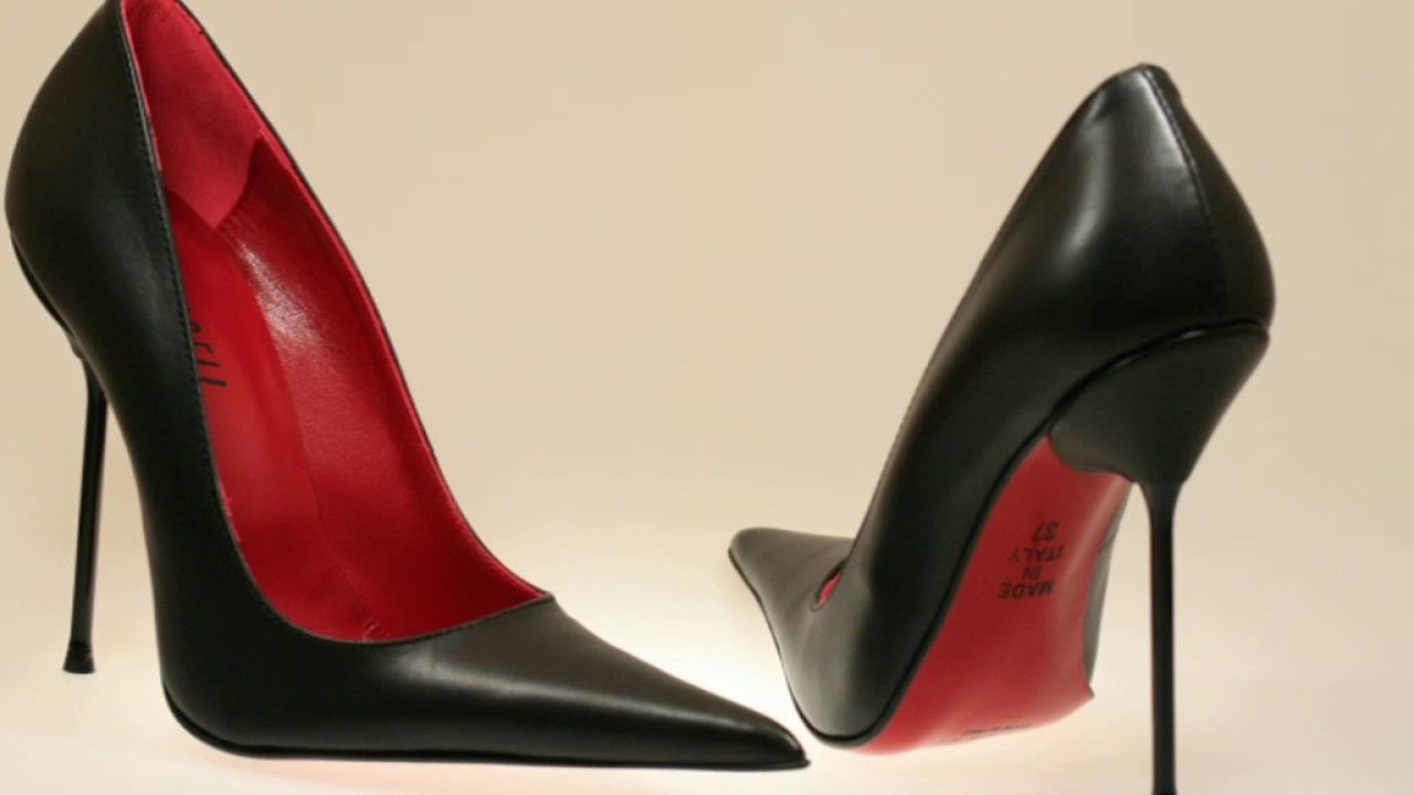 Spitze Leder Stiletto High Heels schwarz-rot - YouTube