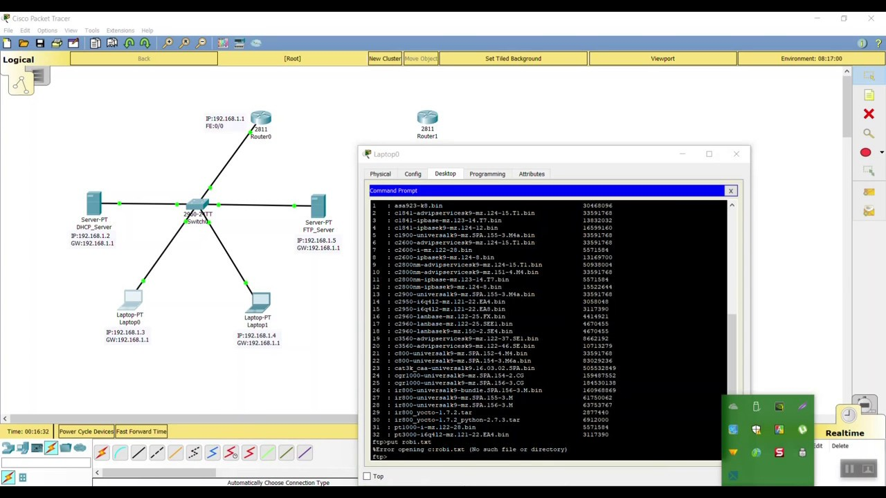 DHCP/WEB/DNS/FTP/EMAIL server set up in Cisco Packet Tracer