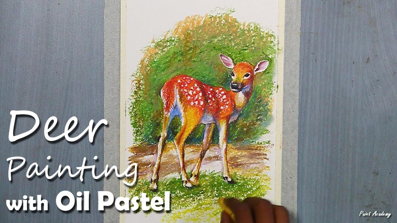 How to Paint A sweet Fawn/Deer in Oil Pastel