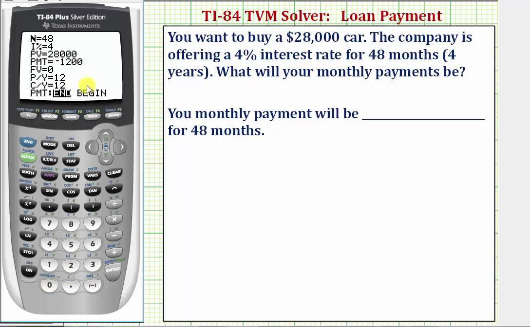 Ex: TI84 TVM Solver - Find a Monthly Loan Payment - YouTube