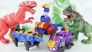 Monster Dinosaurs Attack Transformers Robot Dinosaur! Go Dino-Core protect our park! Fun Mini Movie.
