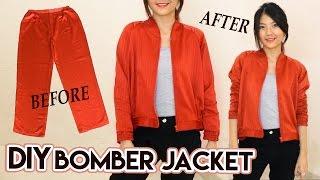 DIY Turn Old Pants Into Bomber Jacket | Satin Raglan Jacket | Clothes Transformation