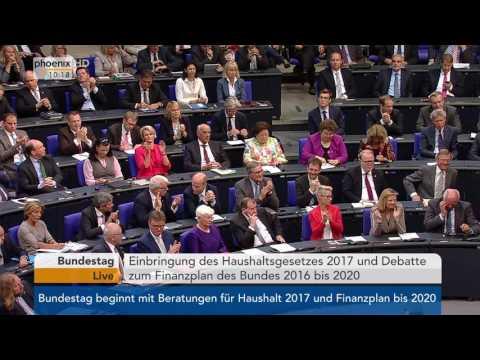 Haushalt 2017: Finanzminister Schäuble zum Haushaltsgesetz am 06.09.2016
