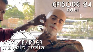 street indian barber face shave and head massage with neck crack asmr no talking