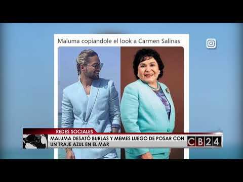 Maluma desat� burlas y memes por foto con traje azul en el mar