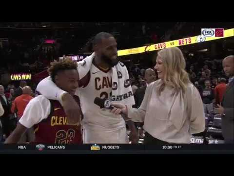 LeBron James' sons join his postgame interview after Cavs' overtime win vs. Clippers