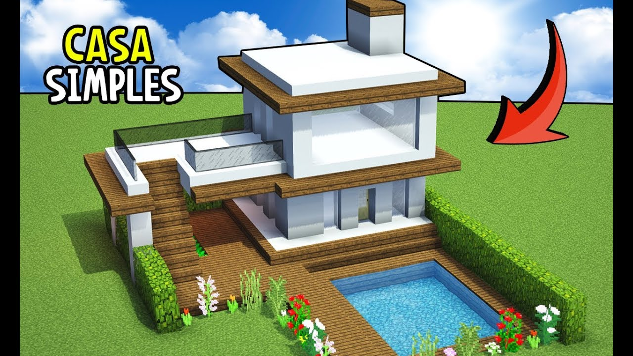Minecraft tutorial casa moderna simples manyacraft for Casa moderna 1 8