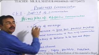 Principles of effective Communication | Basics of Communication | Business Communication Mathur Sir