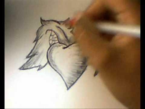como dibujar un corazon con alas a lapicero (super facil)