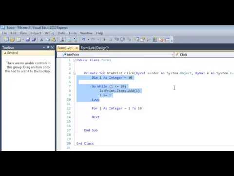 For Next Loop In Visual Basic Tutorial With A List Box