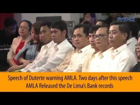 Does AMLA documentary evidence mean it's Jail time for De Lima?