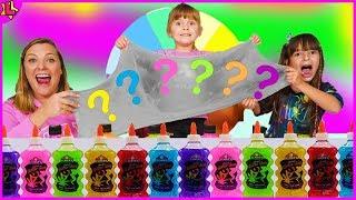 Laurinha em como fazer Slime no desafio de Slime na roleta de cores - Slime Challenge