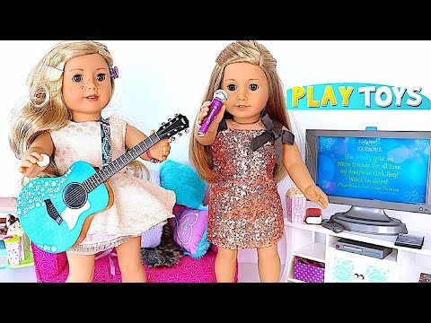 Baby Doll Popcorn Machine - Play AG Dolls Karaoke, Movie & Popcorn sleepover in dollhouse