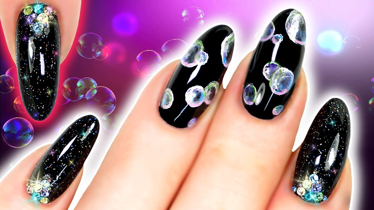 Bubble Nails Black Airflower Nail Art With Holo Glitter And Crystals