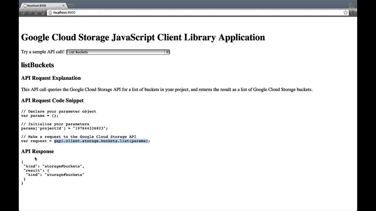 Javascript Cloud Google Cloud Storage Getting Started With The Javascript Sample Application