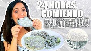 24 HORAS COMIENDO PLATEADO 😱 1 Dia Entero Comiendo por Colores 🔥 RETO SandraCiresArt