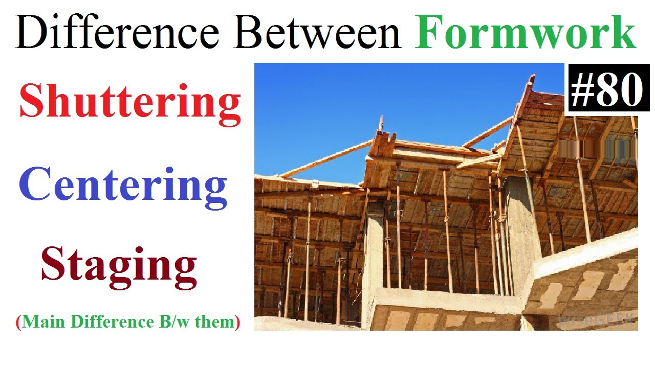 Difference between centering,shuttering,staging in Formwork in Urdu/Hindi