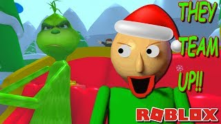 BALDI TEAMS UP WITH THE GRINCH AND RUINS CHRISTMAS!! | The Weird Side of Roblox: The Grinch Obby