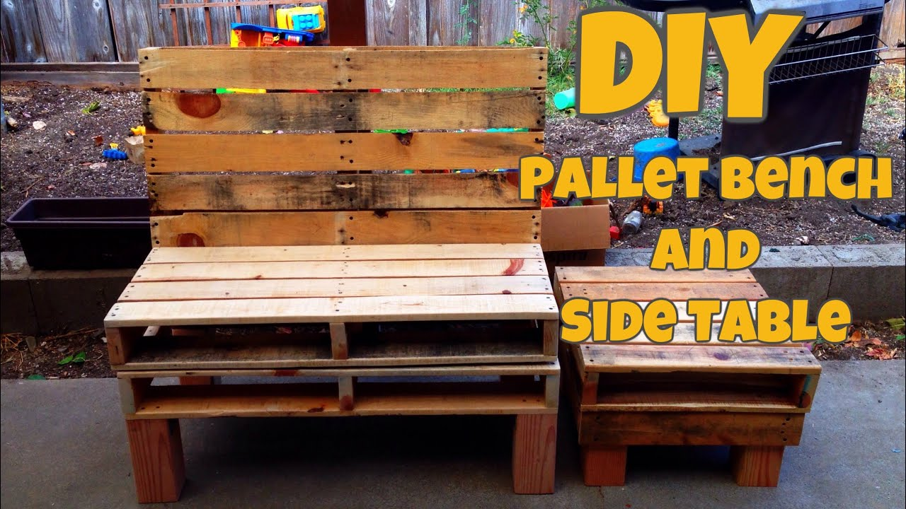 Diy pallet bench and side table youtube for What is dirt made out of