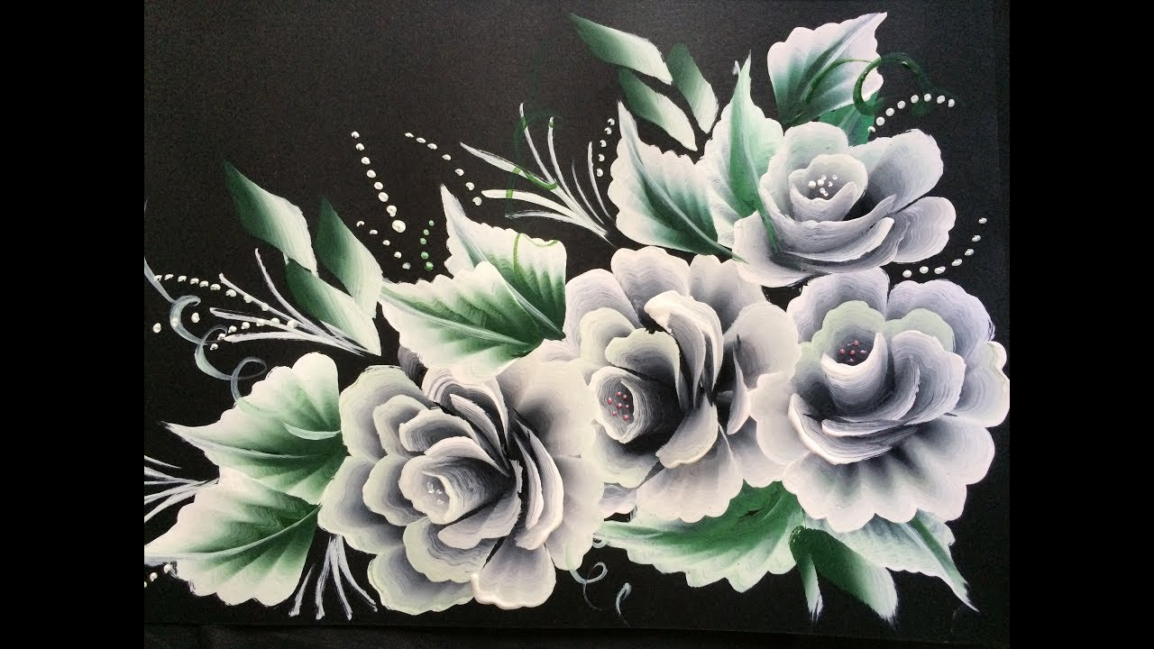 one stroke white roses on black chart paper youtube