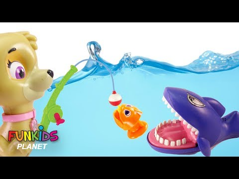 Paw Patrol Chase & Skye Let's Go Fishing with Sharks Color Fish Toys: Learning Colors for Children: