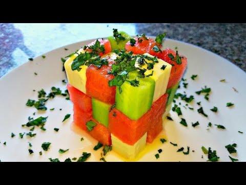 Салат с арбузом и огурцом. Салат кубик рубик - YouTube
