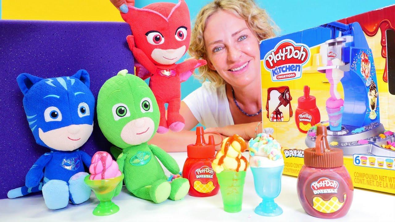 Eis für die Pyjamahelden - PlayDoh Eismaschine - Spielzeugvideo mit Nicole