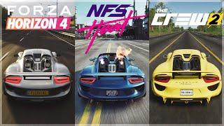 Need For Speed Heat vs Horizon 4 vs The Crew 2 |Porsche 918 Sound & 4K Gameplay Comparison