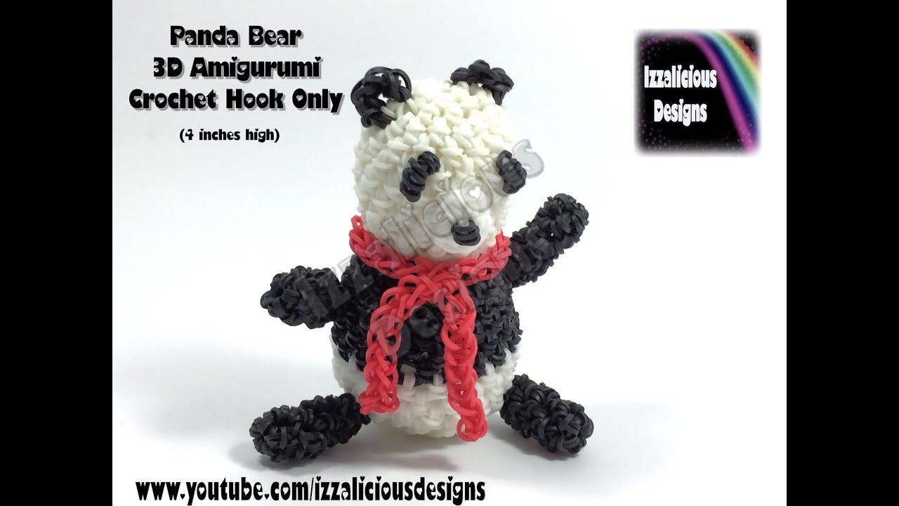 Rainbow Loom 3d Panda Bear Amigurumi Loomigurumi Figure