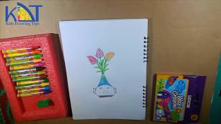 How to draw a tulip flower easily step by step for kids art ideas|Kids Drawing Tips