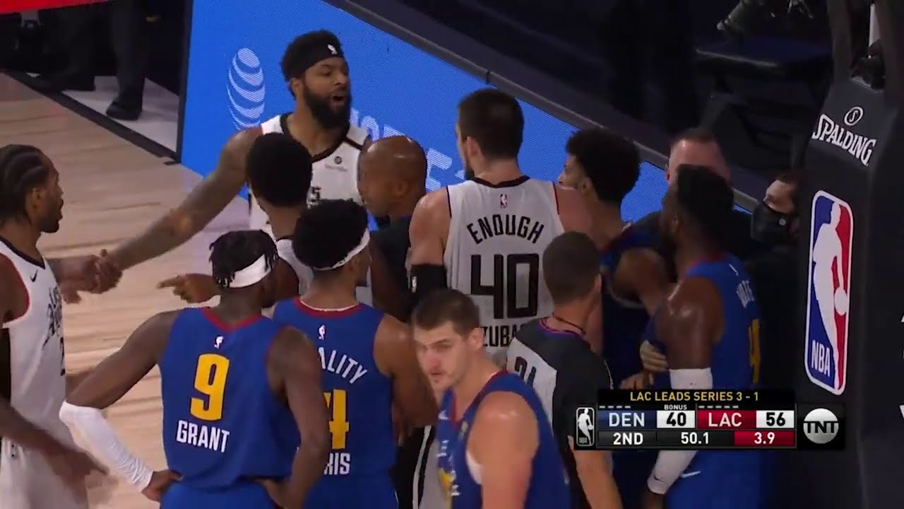 Marcus Morris and Paul Milsap share a moment   Game 5   Clippers vs Nuggets