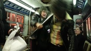 Crazed Man Attacks Woman on the Bus!