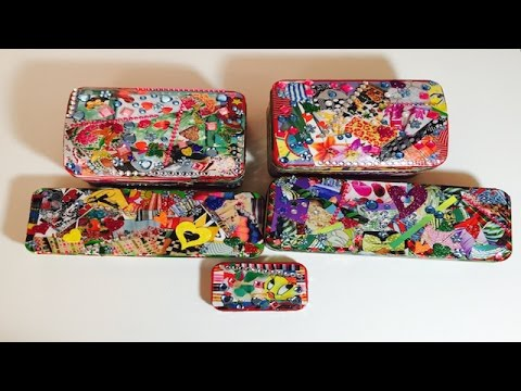 Aprende a decorar latas de dulces hacer cofres con latas - Como decorar una caja de metal ...