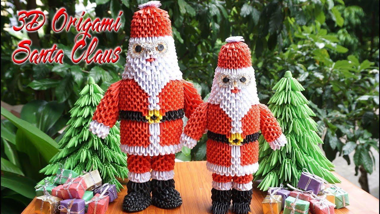 How To Make 3d Origami Santa Claus Como Hacer Origami 3d Papa Noel - Origami-papa-noel