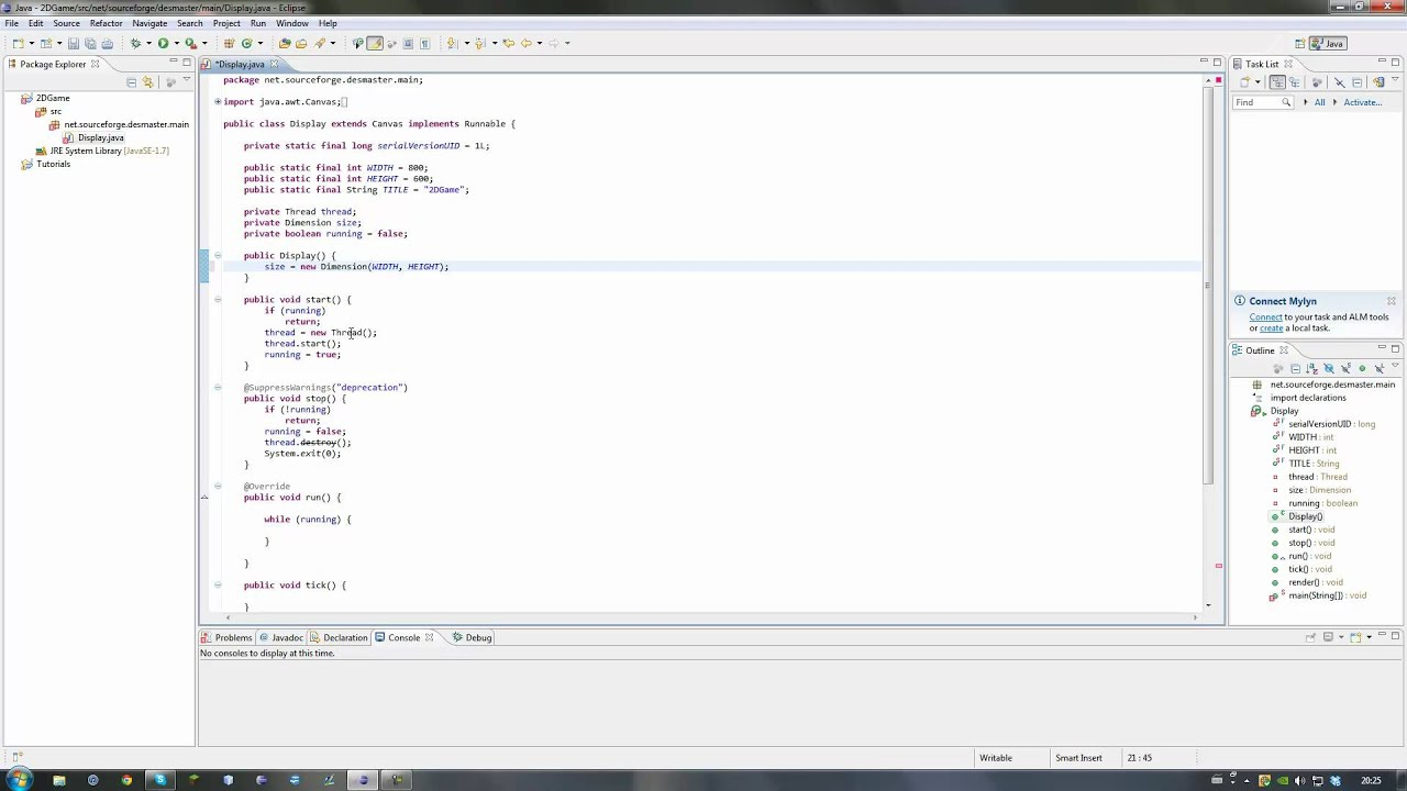 Java 2D Game Programming Tutorial - Creating the Frame - Ep. 1 - YouTube