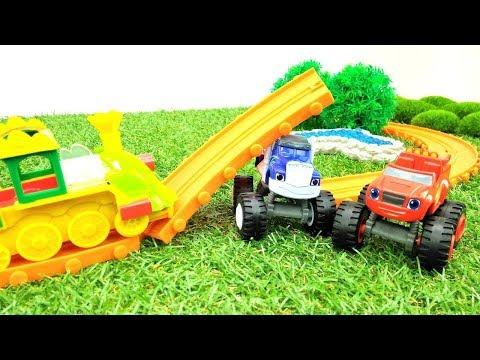 Blaze Monster Maschinen. Crusher zerstört die Bahngleise. Spielzeugautos für Kinder.