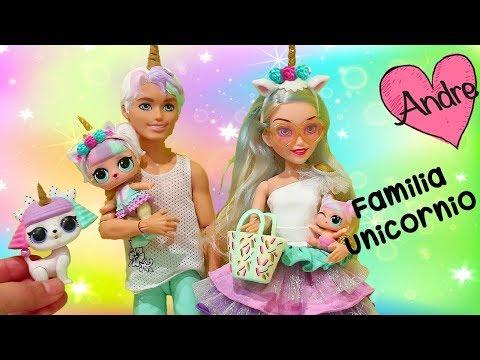 Familia Unicornio encuentra un perricornio!!! Jugando mu�ecas y juguetes con Andre para ni�os