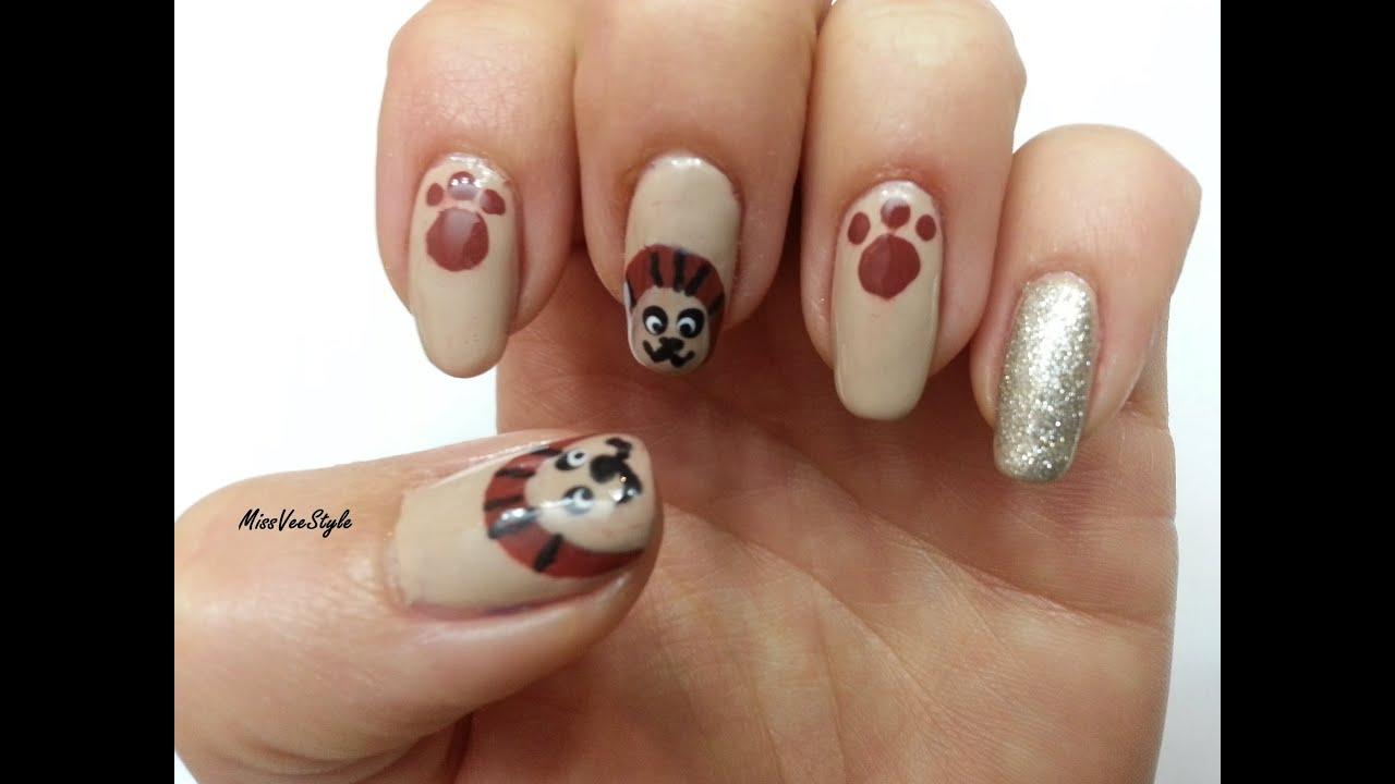 Easy & Cute Lion Nail Art design