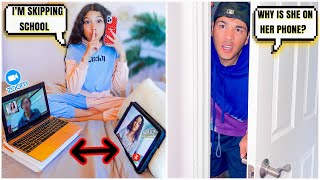 WE CAUGHT TXUNAMY FAKING HER ONLINE ZOOM CLASS!! | Familia Diamond