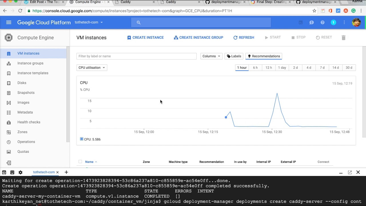 Caddy Web Server in Google Container engine - Karthikeyan