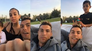 Cristiano Ronaldo | Instagram Live Stream | 17 April 2018 w/ Ronaldo Jr & Girlfriend