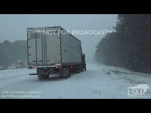 1-3-18 Walterboro, SC Multiple Vehicle Accident With Very Heavy Snow Along I-95