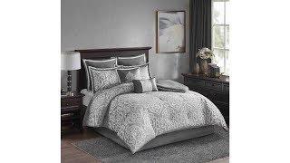Madison Park Odette 8 Piece Jacquard Bedding Comforter Set with Damask Stria, Queen, Silver