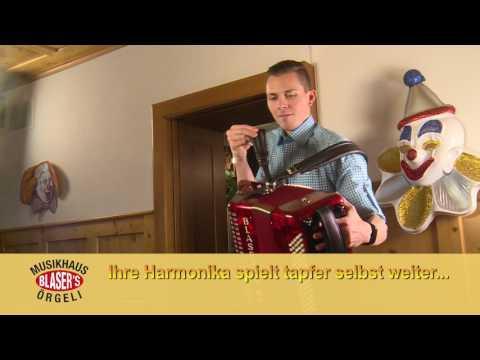Blasers Info Video Werbefilm Selbstspielende Fake Musikinstrumente Showharmonika