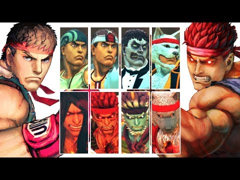RYU & EVIL RYU - All DLC Costumes, Colors, Taunts, Intros, Win Poses *USF4 |