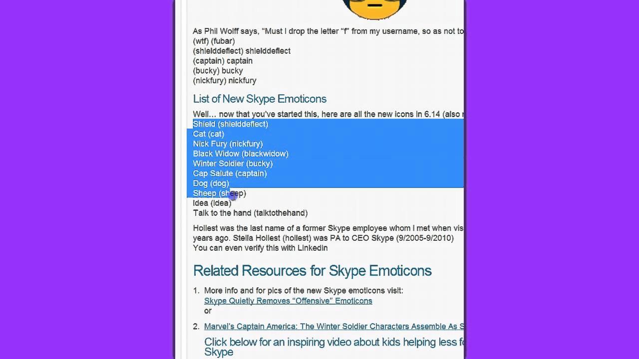Skype hidden emoticons captain america - New Skype Emoticons
