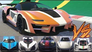 GTA 5 - Top Speed Drag Race (Progen Emerus vs Top 10 Super Cars)