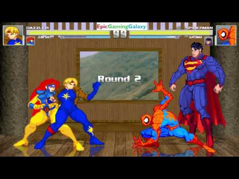 Superman And Spider-Man VS Dazzler And Jean Grey In A MUGEN Match / Battle / Fight