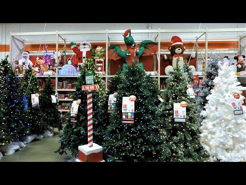 4K CHRISTMAS SECTION AT HOME DEPOT - Christmas Shopping Christmas Trees Decorations Ornaments