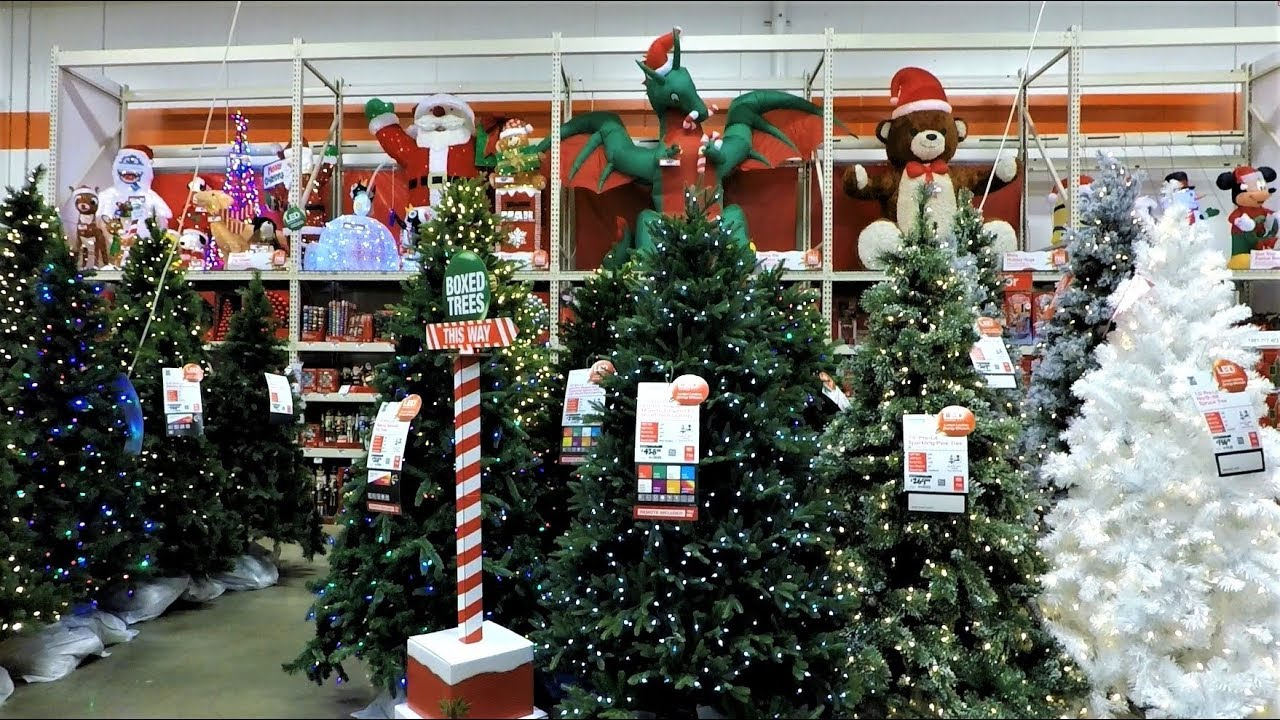 4k christmas section at home depot christmas shopping christmas trees decorations ornaments - Home Depot Christmas Decorations
